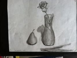 Rose, Glass, and a Mini Pear by Cafante