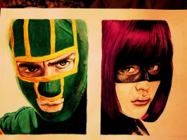 Kick-Ass with Hit-Girl by MeeK-san