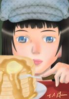 A Girl and Her Pancakes by kixmachina