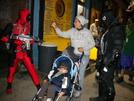 Deadpool and Venom harass mom by StrangeStuffStudios