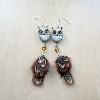 Eagle owl earrings by koshka741