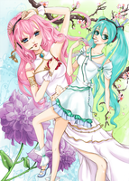 Miku and Luka's Spring by dreaminginlove