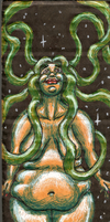 Wavy Green Haired Space Lady on Cardboard by LimeGreenSquid