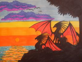 dragons in the sunset by fantasi-dragen