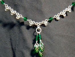 Green leaves and silver by chainmaille