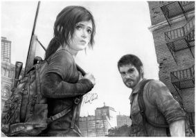 Ellie and Joel - The Last of Us by PauloCarriel