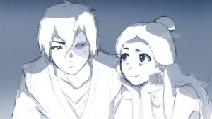 Zuko and Katara :Sketch: by moxie2D