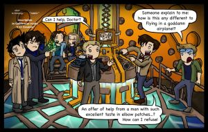 Superwholock in the TARDIS by blackbirdrose