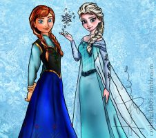 Anna and Elsa from Disney's Frozen by castlefreak005