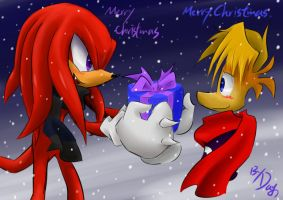 Knuckles and Rayman:Merry Christmas by amberday