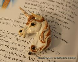 Ivory and Gold Unicorn Brooch by LeeAnneKortus
