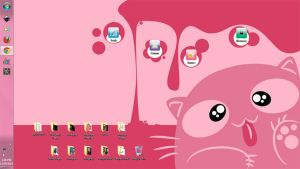 Screenie: Silly Cat on my Desktop by DinDeen