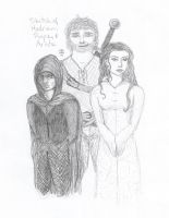 Sketch of Hadrian, Royce, and Arista by energeticjen
