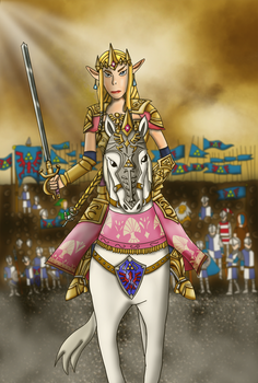 Zelda riding into battle (remake) by Luke-the-F0x
