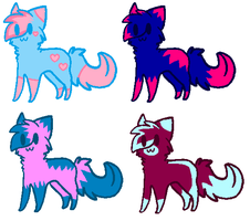 Blue and Pink kitty adopts by Honey-PawStep