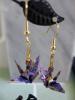 Purple Origami Crane Earrings by limejutsu