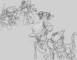 chessire and hatter sketches part 1 by LyokoFanLatina
