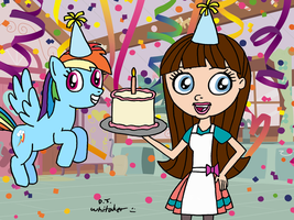 Rainbow and Blythe with B-Day Cake by DJgames