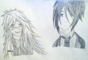 Grell and sebastian by Claybirdies