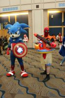 Metrocon 2014: Captain Sonic and Deadpool by pgw-Chaos