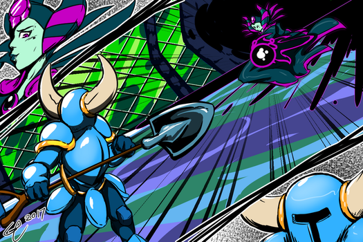 Shovel Knight Vs The Enchantress by Ethereal-Blaze