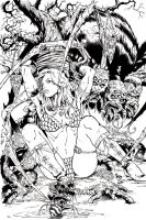 Red Sonja Spider cover ink by JoshTempleton
