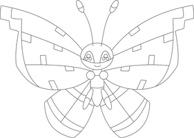 Lineart of Vivillon with the river pattern by InuKawaiiLover