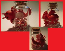 Red Candy Cane Bottle Dragon by SneakyCinnamon