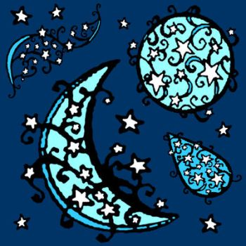 blue moon fabric by KRSdeviations