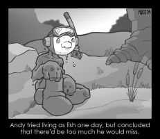 Andy Tries a Fishy Life by deaddays