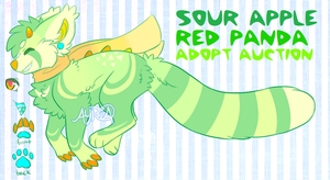 sour apple red panda monster adopt-AUCTION CLOSED- by QueenAyria