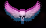 Metal Neon skull with wings by mateoatya