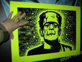 Franken Monster Woodcut Print by LisaLotek