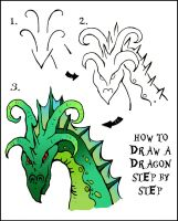 HOW TO DRAW A DRAGON IN 3 STEPS by DarylHobsonArtwork