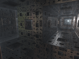 Menger sponge with reflections by KrzysztofMarczak