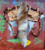 Red Fox and Deerskin Belt Pouch Set by lupagreenwolf