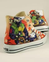 Kakashi Naruto Custom Converse Chucks by Annatarhouse