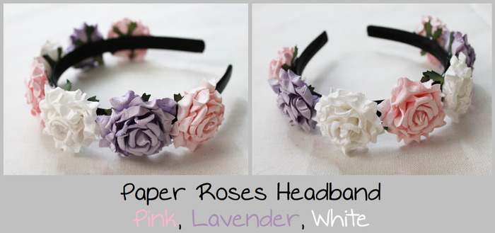 Paper Roses Headband - Pink, Lavender, White by Feyon