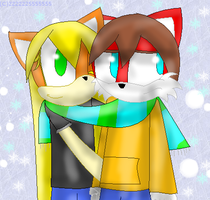 sharing a scarf by 222222555555