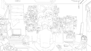 HS - Room of Photos Lineart by feshnie