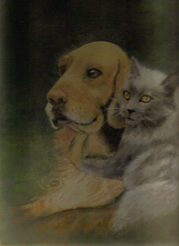 Cat and Dog Painting by Erin121