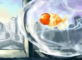 OC : flying goldfish by Sa-Dui