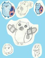 Cartoon Hangover sketchdump - Catbug and Puppycat by The-Scary-Sister