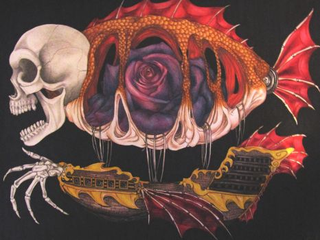 The Airship of a Madman (blurry, sorry) by SilentSheWhispers