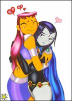 Raven and Starfire by ZiemosPendric