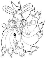 flaming Kyubimon outline by mike-son