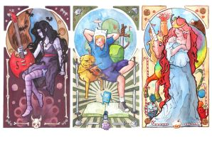 Adventure Time Art Nouveau style Triptych by saetiz