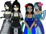 Green and Blue Naga Girls. by TheArchosaurQueen