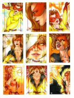 Firestar sketch cards by Dangerous-Beauty778