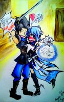 aqua and zack by snowconeXD